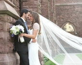 108 inch classic, simple, plain, sheer, cathedral veil, single tier, wedding veil, bridal veil white, diamond white, light ivory, and ivory
