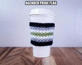 Agender Pride Flag Crochet Coffee Cozy
