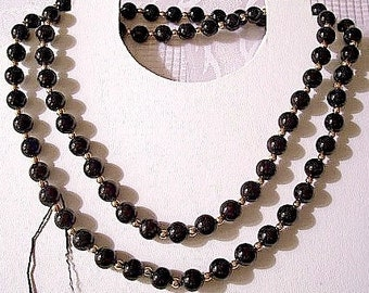 Black Onyx Bead Necklace Gold Tone Vintage Smooth Polished Round Gemstones Small Spacer Accent 32 Inches Long