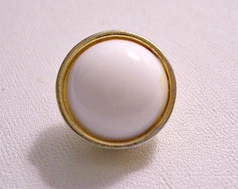 Monet White Lucite Button Rimmed Edge Single Replacement Clip On Earring Gold Tone Vintage Round Domed Center Brushed Back Comfort Paddle
