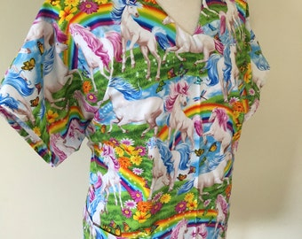 Unicorn scrub top - rainbow unicorn -medical - pediatric - scrub top - scrub jacket - medical scrub top -nurse