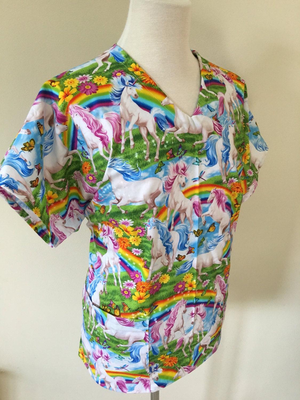 White pinafore apron nurse - Unicorn Scrub Top Rainbow Unicorn Medical Pediatric Scrub Top Scrub Jacket Medical Scrub Top Nurse
