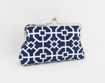Navy & White Geometry Pattern - 8 inches Bridesmaid Clutch - the Florence Style Clutch