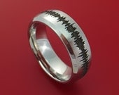 Cobalt Chrome Sound Wave Wedding Band Engagement Ring Made to Any Sizing and Finish 3-22