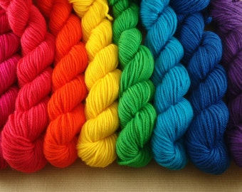 Mini Skeins Rainbow - Set of 8 - Hand Dyed DK Weight Yarn - 100% Superwash Merino Wool