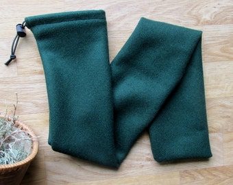 Native Flute Whistle Pouch Shakuhachi Drumstick Bag Pennywhistle or Pipe Case - Dark Green Color Wool 28 x 4.5