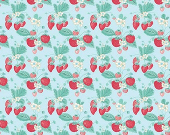 Riley Blake Designs Strawberry Main Blue fabric   - 1 yard