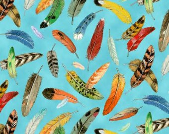 NEW Elizabeth's Studio Bird Watching Blue Feathers fabric - 1 yard