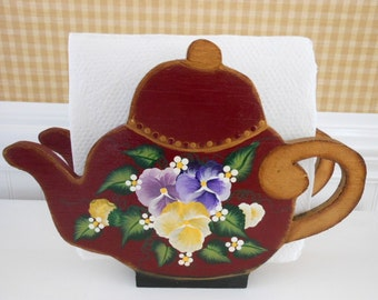 Vintage Handmade Hand Painted Wood Teapot Napkin Holder