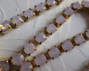 Rhinestone Chain Rose Pink Opal Preciosa Czech Crystal 6mm / 29SS in Brass Setting - Qty 34 inch strand
