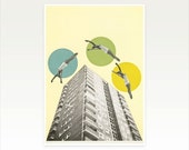 CLEARANCE SALE! A4 Surreal Architecture Art, Mid Century Print - High Flyers