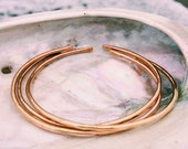 Stacking Bangles Cuffs - Set of 3 - Copper, Brass or Mixed Hand Forged and Hammered
