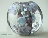 Handmade Lampwork Focal bead 'Lilac & pale blue' Creeky Beads SRA