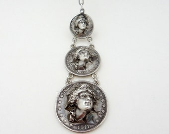 Vintage Lady Liberty Repousse Pop Out Silver Coin Watch Fob/Necklace Absolutely Stunning
