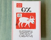 "Chinese Zodiac 5""x7"" - YEAR of the OX - Letterpress Art Print - New Years - Junishi"