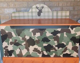 Camo Deer, Hunting,  Toy Box, Trunk , Triba.l Hunting, Trunk, Orange CAMO,  HANDPAINTED Toy Chest, Nursery, Toy Storage Custom