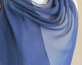 "Beautiful Solid Blue Sheer Silk Scarf  - 18"" x 48"" Long"