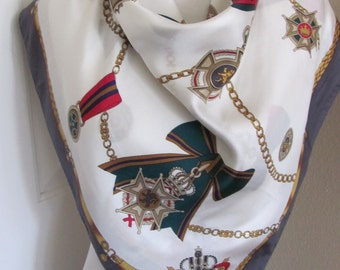 "Lovely White Gray Ladies Silk Scarf  // 31"" Inch 78cm Square // Best of the Best"