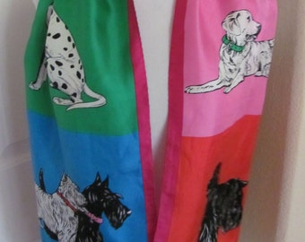 "Adrienne Vittadini // Colorful Dog Pattern Soft Silk Scarf // 12"" x 58"" Long"