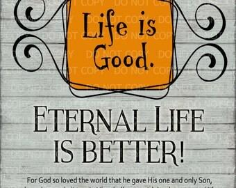 "Printable Halloween Party Eternal Life Religious Christian 12x12"" Print - INSTANT DOWNLOAD"