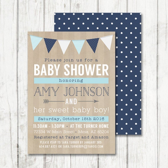 baby boy shower invitation rustic baby shower invitation baby blue