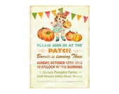 Digital PRINTABLE Vintage Pumpkin Patch Farm Fall Halloween Daughter Girl Children Birthday Tea Party Invitation Banner Cards Sheet IN74