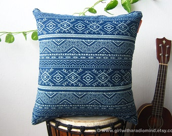 "Navajo Denim Blue Throw Pillow - Geometric Indian American Style Cushion Cover 18x18"" 16x16"""