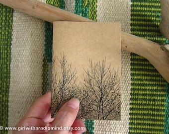 Tree Notebook - Mini Black and White Print Pocket Travelers' Journal Diary - Nature Series - Trees, Sky, Wood, Dandelion