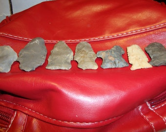 Group Of 7 NATIVE AMERICAN ARTIFACTS Tennessee River,Jackson County,Al.Arrowheads