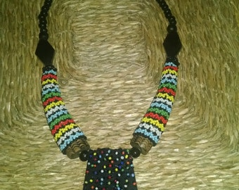 South African Bone,Wood and Beaded Necklace