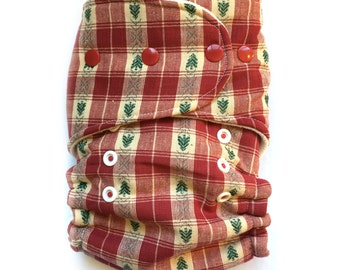 One Size Fitted Hybrid Cloth Diaper Christmas Trees Woven
