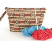 Projet de sac à tricoter, gros tricot avec fermeture éclair au sud-ouest Tribal Wedge impression sac
