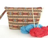 Knitting Project Bag, Large Zippered Knitting Bag Southwest Tribal Print Wedge Bag