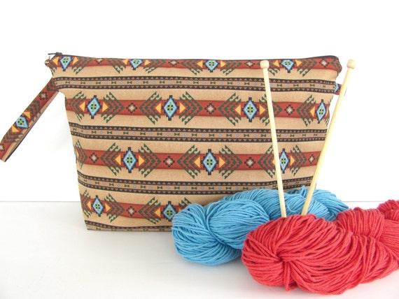Zippered Knitting Bag : Knitting project bag large zippered southwest