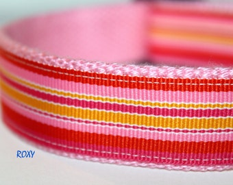 Striped Orange and Yellow Dog Collar, Pet Accessories, Adjustable Dog Collar, Surf Collar, Girl Dog Collar