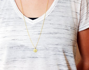 CAT necklace // raw brass long necklace // hand stamped jewelry