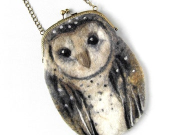 Barn OWL Wet Felted coin purse,Shoulder Bag,Ready to Ship with bag frame metal closure Hand made gift for her