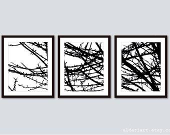 Modern Branches Art Prints - Tree Branches Wall Art - Custom Colors - Set of 3 Prints - Aldari Art