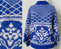 80s Blue and White Graphic Geometric Print Mock Turtleneck Ugly Sweater Hipster size Medium Large
