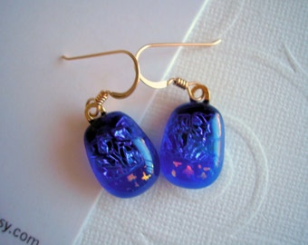 Dichroic Glass Earrings Deep Blue with Stars 14K Gold Fused Glass Jewelry Dark Blue Earrings Blue Jewelry Star Earrings  Sparkle Glass Boho