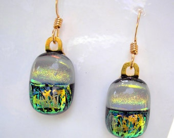 Dichroic Jewelry Sunlit Forest Green and Gold Pearly Gray Petite Oval Earrings for Pierced Ears Opalescent Fused Glass Color Shifting Dichro