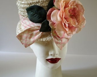 New Lower Price!!! Cute and Fancy Vintage White Raffia BONNET...Huge Pink Flower...Retro Hat...Mothers Day...Upcycled