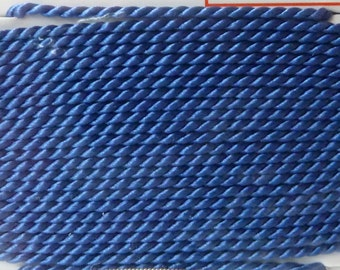 Size 2 Blue Silk Beading Cord with Needle Attached -  Griffin Pure Silk Thread