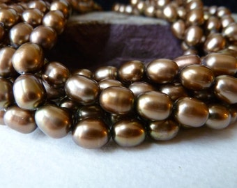 Brown Rice Pearls - Golden Brown Pearls - 6x8mm - Genuine High Quality Pearls - half strand (brpa)
