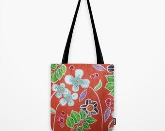 Garden Tote Bag Abstract Artwork Printed on Tote Bag Unique Tote Bag Colorful Tote Nature