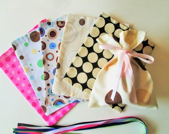 Cloth Gift Party Bags - An Assortment of Dots - (6) Six Bags, great for gift giving, stuff with party favors, candles, jams...2 gifts in one