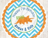 Dinosaur Birthday Favor Sticker Labels, Boys 1st Birthday, Dinosaur Theme Birthday Party Favors, Dinosaur Birthday Decorations - Set of 24