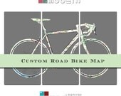 Custom Street Map Road Bicycle Triptych Canvas Giclee - Gray