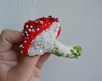 Needle Felted Mushroom Pin Wool Brooch Toadstool Red and White Embroidered with Glass Beads Gift for Nature Lovers