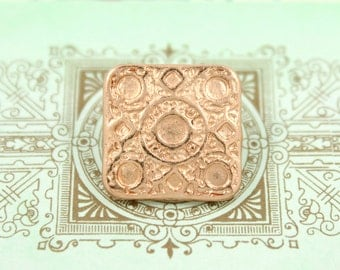 Square Metal Buttons - Round and Square Matrix Rose Gold Metal Shank Buttons - 17mm - 0.67 inch - 2 pcs